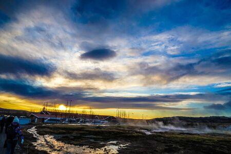Scenery and sunrise of Iceland Geysir 写真素材 - 130086826
