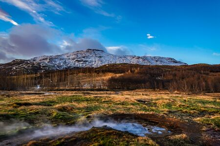 Scenery and sunrise of Iceland Geysir 写真素材 - 130087153