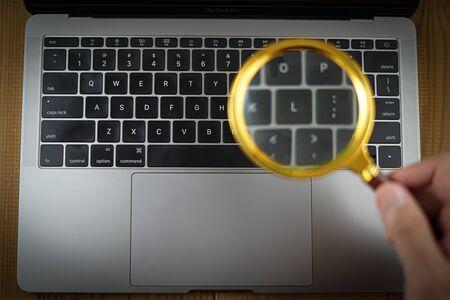 Keyboard image of stylish laptop Stock Photo