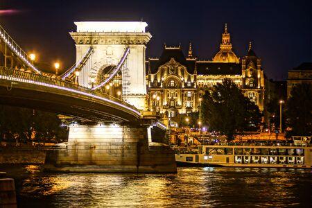 Szechenyi Chain Bridge night view (Budapest, Hungary)