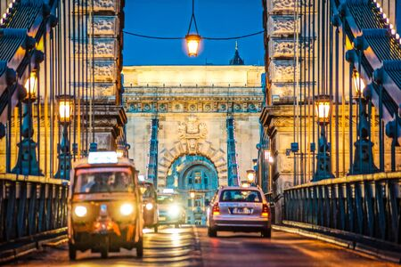 Szechenyi Chain Bridge night view (Budapest, Hungary) Stock Photo