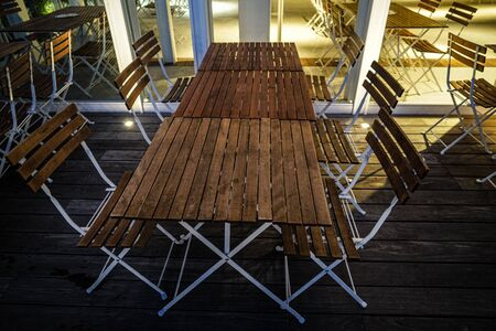 Stylish bench and table image of Stockfoto