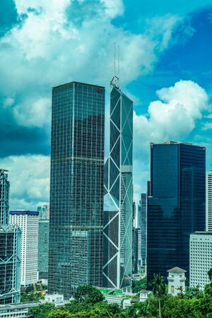 Empty high-rise buildings and the fine weather of Hong Kong