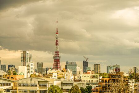 Sky and of the Roppongi skyline cloudy