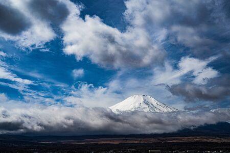 Mount Fuji and majestic sky (taken from Lake Yamanaka) Stock Photo