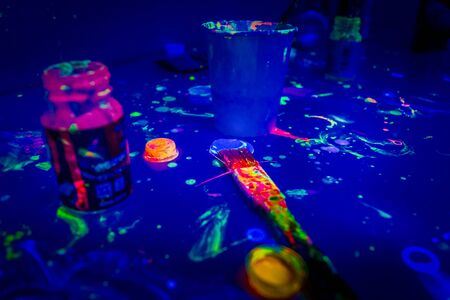 Fluorescent paint the image of the night club