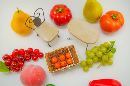 Vegetables and fruit that is placed on the table Stockfoto