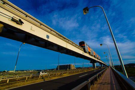 Tama monorail running the stand Date Bridge