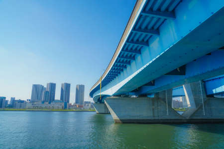 Toyosu city with fine weather