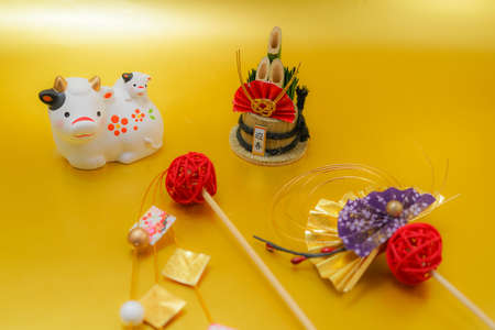 Ox Year of the figure and the New Year material material (2021 New Year zodiac) 免版税图像