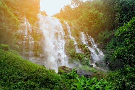 Wachiratarn Waterfall, Chiang Mai, Thailand, a beautiful mountain waterfall landscape