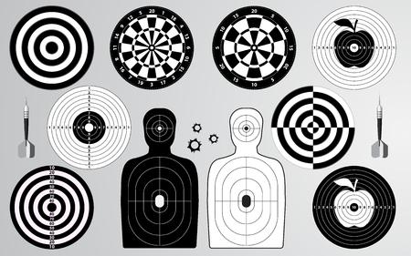 Set di bersaglio, poligono di tiro, freccette, uomo isolato, tiro con l'arco per l'allenamento della pratica sportiva. Illustrazione vettoriale silhouette creativa.