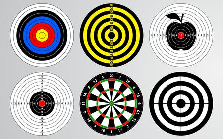Conjunto de vector objetivo de rango de tiro, tablero de dardos aislado, tiro con arco para práctica de tiro de jugador de juego de pistola.