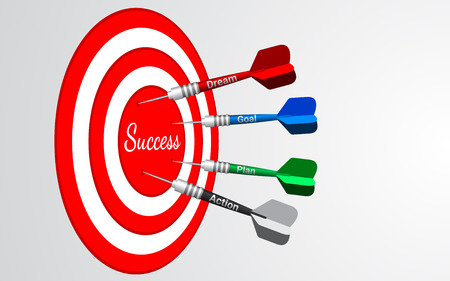 Darts target isolated vector. Shooting target in the center. Success business solutions concept. Vettoriali