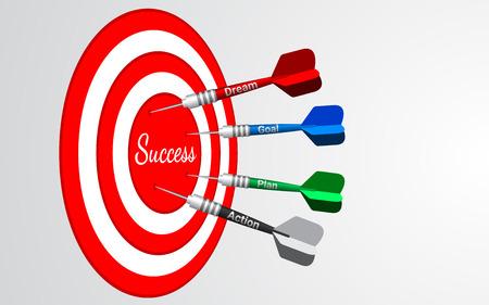 Dardos objetivo vector aislado. Tiro al blanco en el centro. Concepto de soluciones empresariales de éxito.
