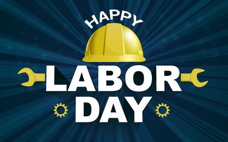 Happy Labor Day Poster Flyer Banner-Vektor-Illustration. Gelber Safty-Helm auf geplatztem Hintergrunddesign. Konzeptwerbung zum Tag der Arbeit.
