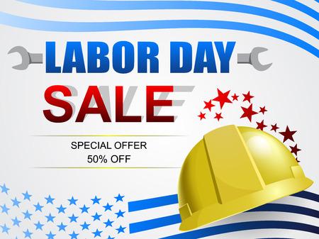 Labor Day Sale Banner Design. Amerikanische Flagge auf weißem Hintergrundvektor. Arbeitstag Feiertagsfeierkonzept. Vektorgrafik