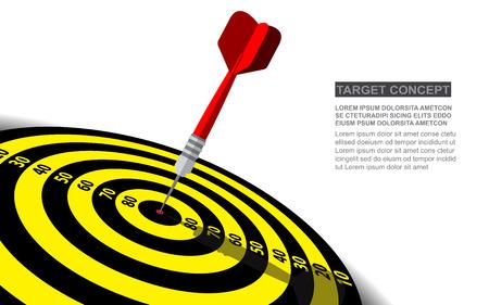 Modèle isolé de vecteur de fléchettes pour objectif commercial. Concept de solutions de succès de cible de tir. Vecteurs