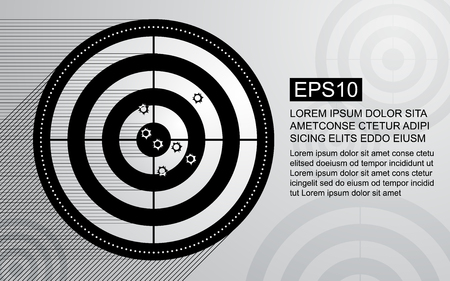 Abstract target, shooting range with bullet hole on black and white background. Business target goal vector illustration concept.