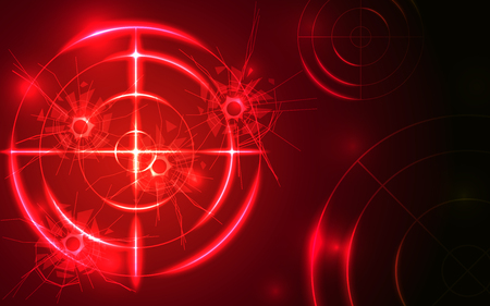 Abstract shooting range with bullet hole on red background vector illustration. Success business target goal solutions concept.