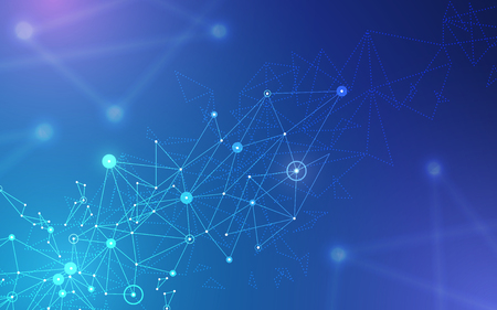 Abstract futuristic molecule structure on blue background. Computer network connection vector illustration digital technology concept. Illustration