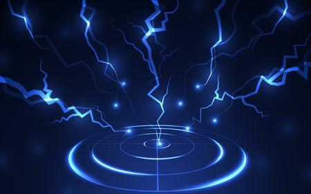 Poligono di tiro blu astratto con il vettore di tecnologia digitale del fulmine. Concetto di soluzioni per obiettivi aziendali di successo.