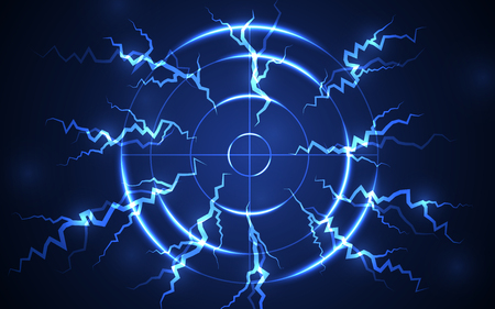 Abstract blue shooting range with lightning digital technology vector. Success business target goal solutions concept. Vettoriali