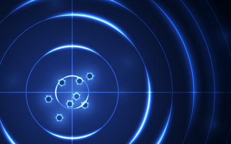 Abstract shooting range with bullet hole on blue background vector illustration. Success business target goal solutions concept.