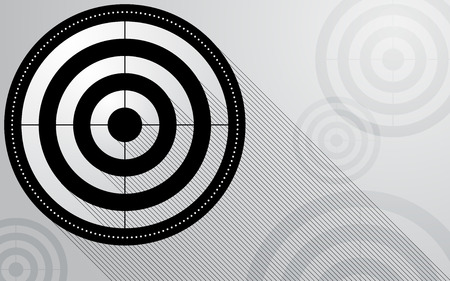 Abstract black radar, target, shooting range with line shadow on white background. Computer network connection vector illustration digital technology concept.