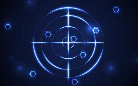 Poligono di tiro astratto con foro di proiettile su sfondo blu illustrazione vettoriale. Successo aziendale obiettivo obiettivo soluzioni concetto.