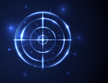 Abstract shooting range on blue background vector illustration. Success business, digital technology concept. Vector Illustration