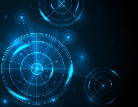 Campo de tiro abstracto en la ilustración de vector de fondo azul. Negocio de éxito, concepto de tecnología digital.