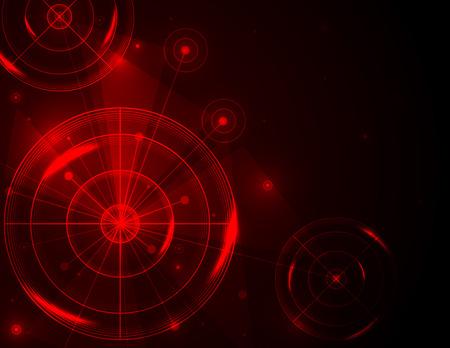 Poligono di tiro astratto su sfondo rosso illustrazione vettoriale. Affari di successo, concetto di tecnologia digitale.