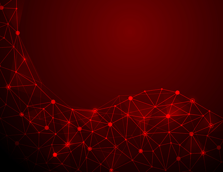 Abstract futuristic molecule structure on red background. Computer network connection vector illustration digital technology concept. Illustration