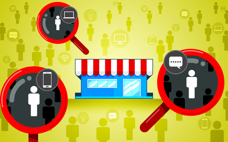 Target audience, focus customer. Magnifying glass, store flat design, icon vector. Business consumer marketing concept.