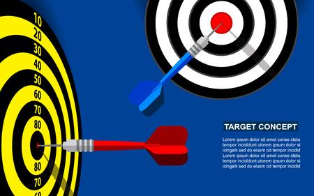 Target dart template for business goal. Shooting target market success solutions concept. Vector flat style illustration on blue background. Vector Illustration