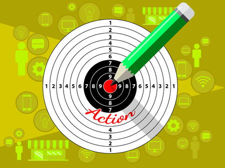 Target dart and pencil template design for business strategy. Shooting target market success solutions concept. Vector flat style illustration on yellow background.