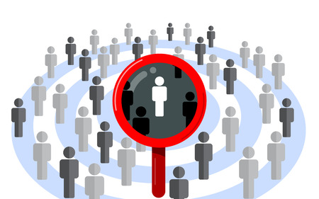 Target audience, find the right person. Magnifying glass and dartboard design vector concept isolated on white background.