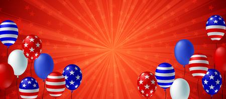 Insegna dell'aletta di filatoio del manifesto del fondo di scoppio di colore rosso. Disegno vettoriale di palloncino bandiera americana. Modello di concetto di celebrazione di festa. Vettoriali