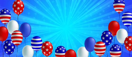 Blue color burst background poster flyer banner. American flag balloon vector design. Holiday celebration concept template.