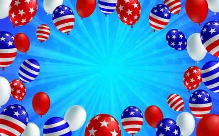 Blue color burst background poster flyer banner. American flag balloon vector design. Holiday celebration concept template.
