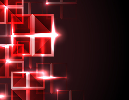 Abstract futuristic digital red square grid technology concept background. Illustration