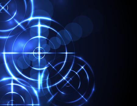Streszczenie futurystyczny radar, cel, koncepcja technologii cyfrowej strzelnicy.