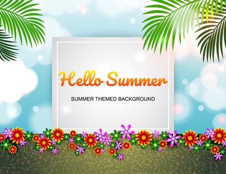 Summer poster, flyer, banner colorful wonderful flowers design layout.