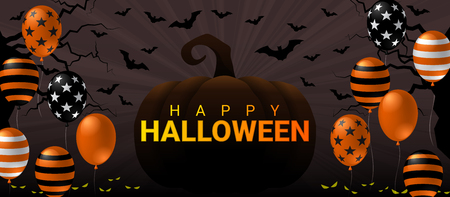 Happy Halloween banner with pumpkin and scary balloon on dark background design. Halloween celebration concept advertising vector illustration.