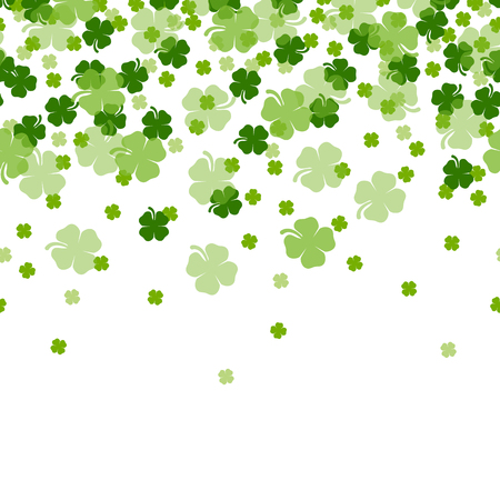 St. Patrick's Day Shamrocks The 4 Leaf Clover Lucky Seamless Background Vector Illustration