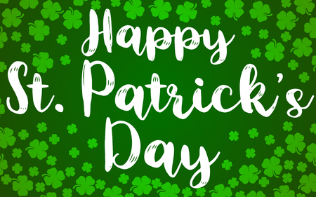 Happy St. Patrick's Day Banner Shamrocks The 4 Leaf Clover Lucky Background Vector Illustration