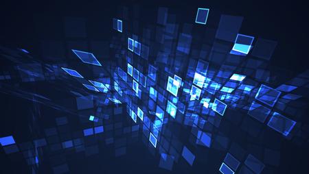 Fondo de perspectiva de cuadrícula de rectángulo intermitente gráfico azul abstracto. Concepto de ilustración futurista de tecnología digital. Foto de archivo
