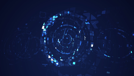 Abstract blue cyber circle digital technology graphic illustration. Internet futuristic concept.