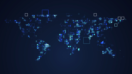 World Map Network Digital Technology Graphic illustration. Blue Color. Internet Futuristic Concept.